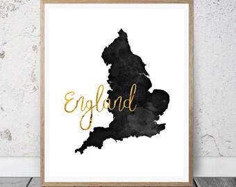 England Map, Map of England, England Print, England Wall Art, England Poster, English Decor, England Art, England Gifts, England Map Print