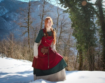 "Viking dress ""Freya""; viking apron; linen dress; natural fabric; northern clothes; viking clothes; viking dress"