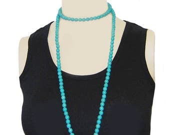 Turquoise Double Wrap Beaded Necklace, Turquoise Beaded Long Necklace