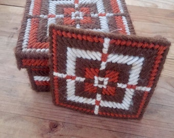 Knitted Coasters, Vintage Coasters, Knitted Tile Coaters