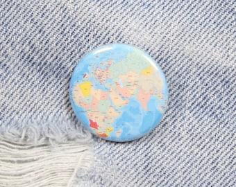 World Map 1.25 Inch Pin Back Button Badge
