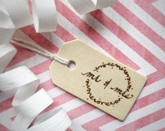 LAST ONE! Wedding Gift Tag, Mr and Mrs, Reusable Wooden Gift Tag, Wood Burned by Hand,Unique Gift Wrap, Wood Gift Tag