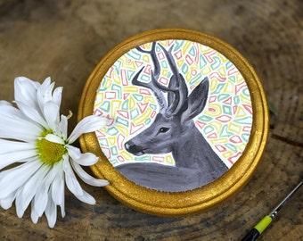 Mini Deer Oil Painting - Deer Painting - Deer Art - Animal Painting - Oil Painting - Animal Art - Small Painting - Abstract Art