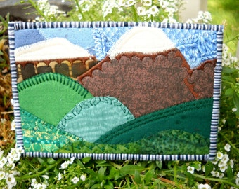 Mountain Scene Quilted Fabric Postcard Greeting Card Birthday Card
