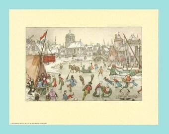 "1971 - 9"" x 7"" Anton Pieck Vintage Dutch Holland Netherlands Skating Scene Print - Mint"