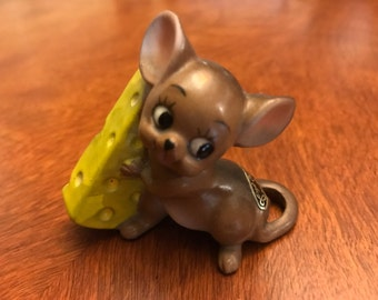 Vintage Josef Originals Japan Mouse with Cheese Figurine