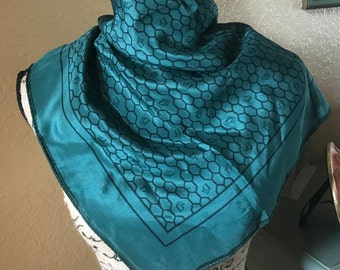 Vintage Dior Scarf, Emerald Green with Honeycomb Pattern