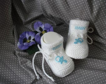 knitted baby shoes, baby shoes, baby socks, Babybooties * heart bear *.