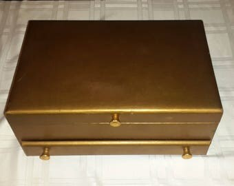 Vintage Lady Buxton Vintage Gold jewelry box faux leather