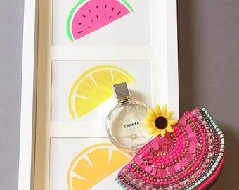 Set of 3 Fruit Art pieces, Handpainted pieces.