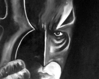 Portrait batman, black and ban, painting.