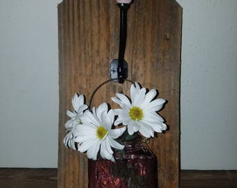 Rustic Barnwood Jar Lantern Vase-Reclaimed-pink-rose-vase