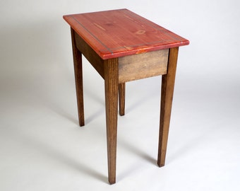 End Table with Drawer and Turquoise Inlay