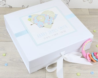 Personalised Elephant Baby Keepsake Memory Box