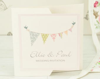 Bunting Pocketfold Wedding Invitation