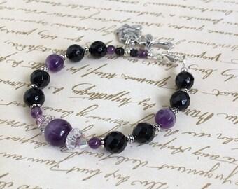 Amethyst and Black Onyx gemstones Rosary Bracelet , Christian Jewelry, Gemstone Bracelet