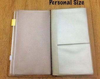 Personal Size Credit Card Holder Insert for Traveler's Notebook - PVC Card Holder Zipped Envelope - Midori Accessories