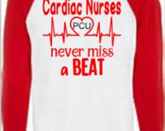 Cardiac Nurses never miss a BEAT Monogrammed Tee