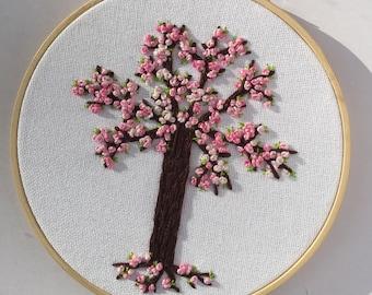 Bubblegum pink hand-embroidered tree