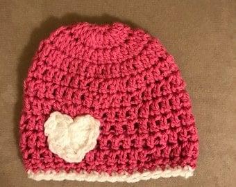 Crochet heart hat, Heart hat, Valentine's Day baby, baby beanie, crochet, newborn heart hat, child, girl heart hat, valentines hat,