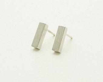 SALE! Bar silver plated agate women earrings chic minimalist modern jewelry