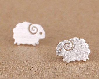 SALE! Little Sheep plated silver sheep animal earrings