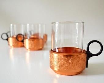 Set of 6 copper vintage glass tea cups cups 1950 DDR GDR