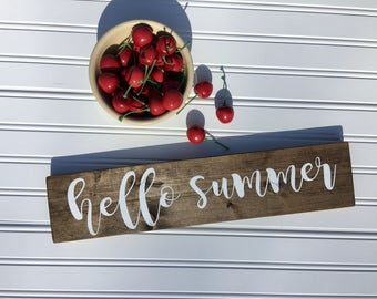 Hello Summer, Summer Wood Sign, Hello Summer Sign, Summer Decor