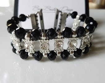 Apple Watch Band 38mm  Apple Watch Band 42mm  Apple Watch Jewelry, Black Beads and Clear Stone