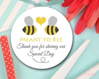 Meant to bee wedding favor Tags, Honey wedding Thank You Tags, Bridal Shower Favor Tags, Bee Thank You Tags, Favor tags LF11