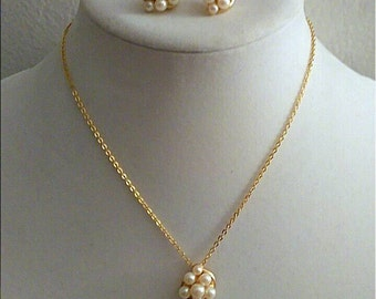 Vintage Gold Pearl Necklace Set, Richelieu Designer Signed, Accessories, Boutique, Fashion Jewelry