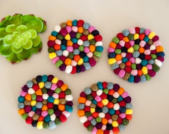 Felted Wool Ball Coaster Set of 4 Multicolor