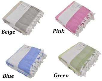 Turkish Terry Towel in Your Choice of Beige, Pink, Green or Blue, Soft Peshtemal Bath Towel, Turkish Beach Towel, Terry Cloth Fouta Hammam