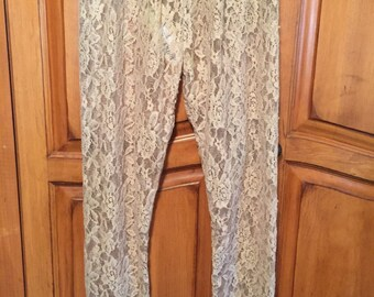 Taupe tan ivory lace leggings womens ladies small medium large