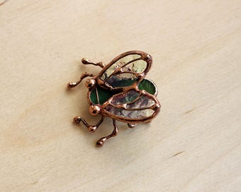 Fly Brooch green, Fly Pin, Stained Glass, botanical jewelry, copper jewelry, inspired nature, insect Pin, nature jewelry, insect jewelry