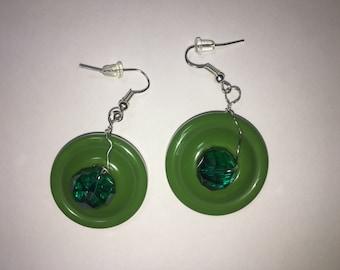 Funky green button earrings