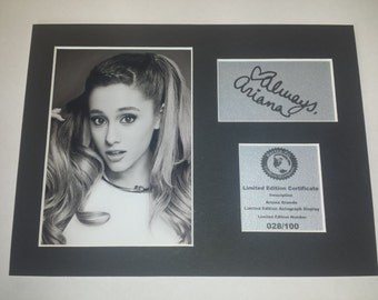 Ariana Grande  Signed Autograph Display - Fully Mounted and Ready To Be Framed