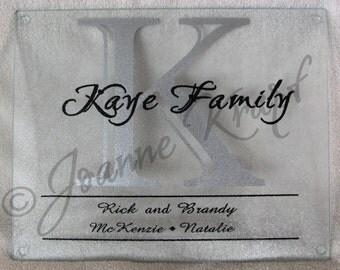 Personalized Glass Cutting Board by Joanne Krapf