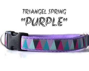 Geometric dog collar,purple dog collar-adjustable dog collar-dog collar-triangle dog collar-medium dog collar-girl dog collar-hondenhalsba