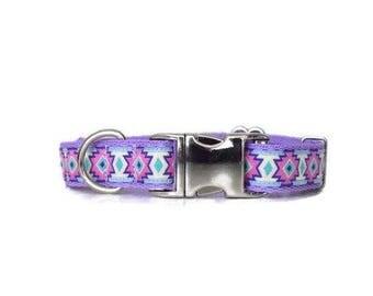 Aztec dog collar, Tribal dog collar, purple dog collar, lilac dog collar, girl dog collar,female dog collar,adjustable dog collar,dog collar