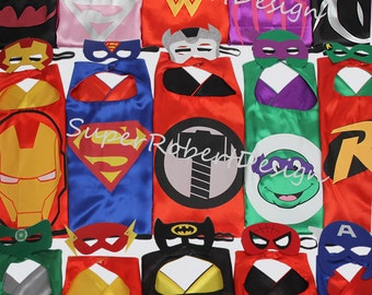 Party Pack 15 set Superhero capes and masks - Ironman, Spiderman, Avengers - Birthday Party Favors - Birthday Gift - Birthday ideas