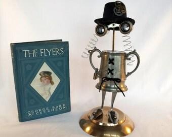 Steampunk Sculpture Robot  - Found object  Assemblage - Repurposed Art - Aviator - Female pilot