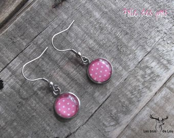 Stainless steel earrings cluster, summer Collection, pea, pink and white, glass cabochon, Crochet, lou Woods