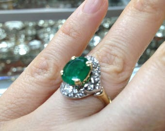 Emerald Ring, Emerald and Diamond Ring,  Emerald Oval Ring, Vintage Emerald Ring,