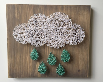 Cloud String Art - Nursery Decor - Baby Gift -  Birthday Gift - Rainbow Decor - Spring Decor - Office Decor - Gallery Wall - Gift for Baby