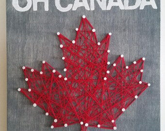 String Art, Wood Sign, Canadian Maple Leaf, Canadian Art, Rustic Maple Leaf, Wall Decor, Home Decor, Leaf Art, Maple Leaf Art, Canada
