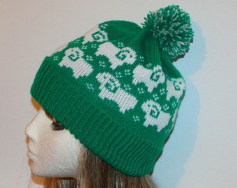 Emerald Green beanie hat with Sheep in White - with or without pompom top