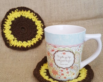 Coffe/Tea Mug Coasters, Handmade Crochet Coasters