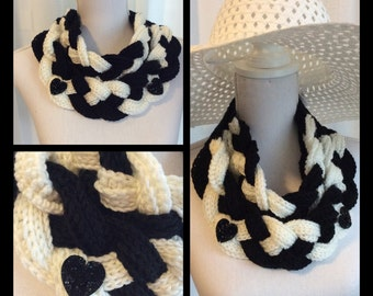 Braided crochet scarf, col, infinity neck warmer in black and white.