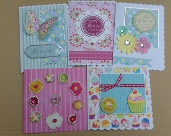 Set of 5 assorted female cards